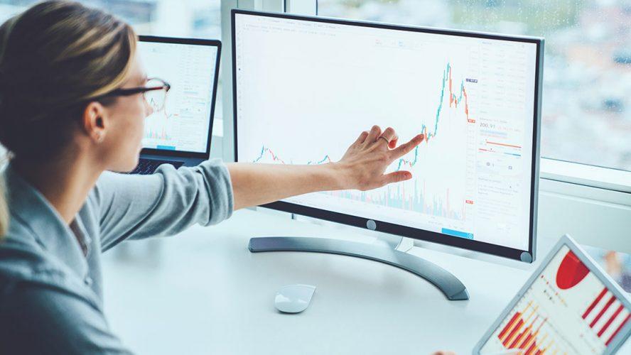 Businesswoman analyzing trends