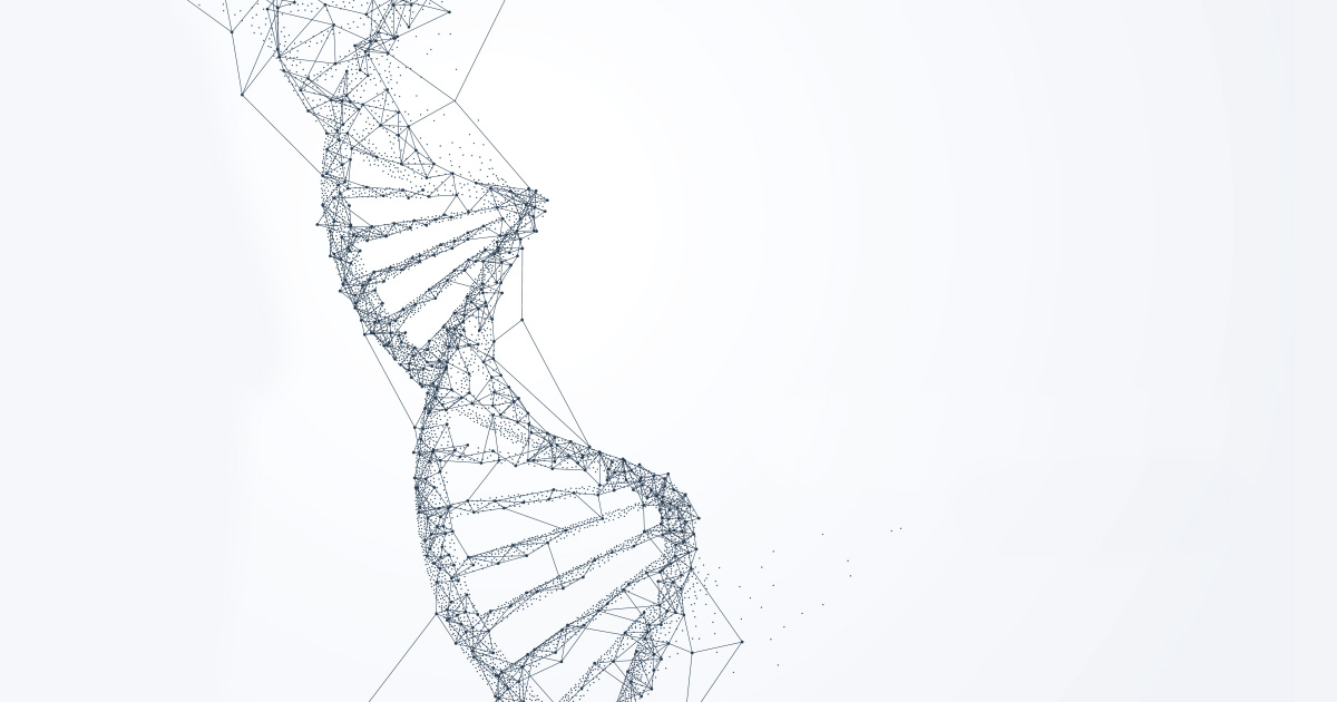 DNA strands on a white background