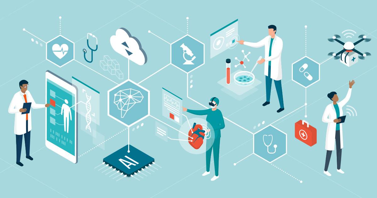 Digital health care illustration