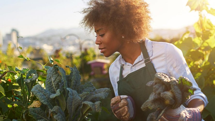 Female urban farmer