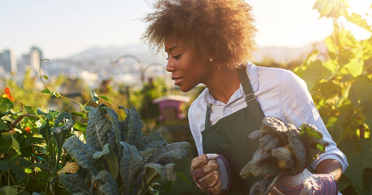 Female urban farmer