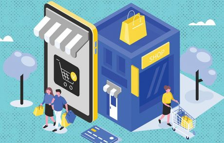 Illustration of people shopping locally and online