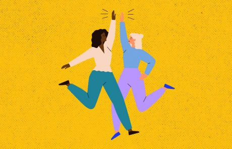 Illustration of two women jumping and high-fiving each other