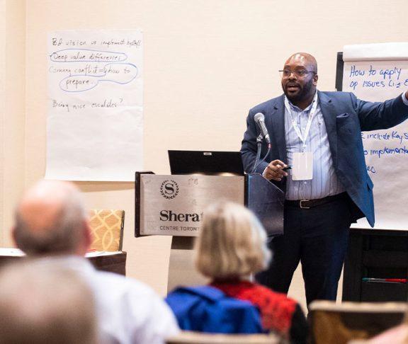 Man giving presentation at ONPHA conference