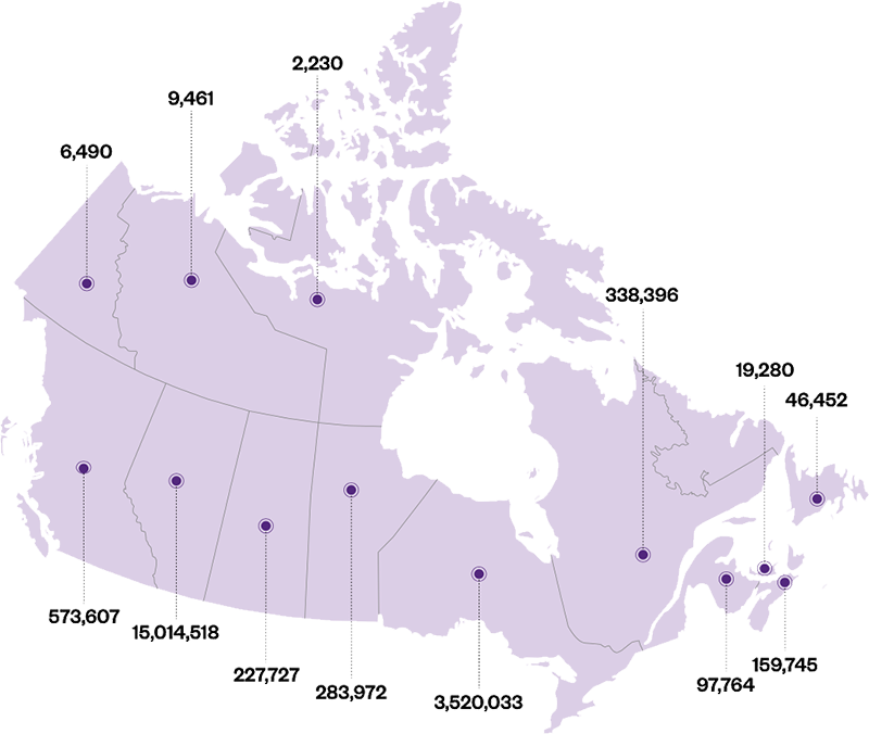 Map of how many students have used MindFuel per province or territory