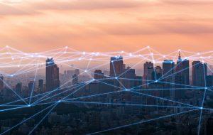 Network over a city skyline