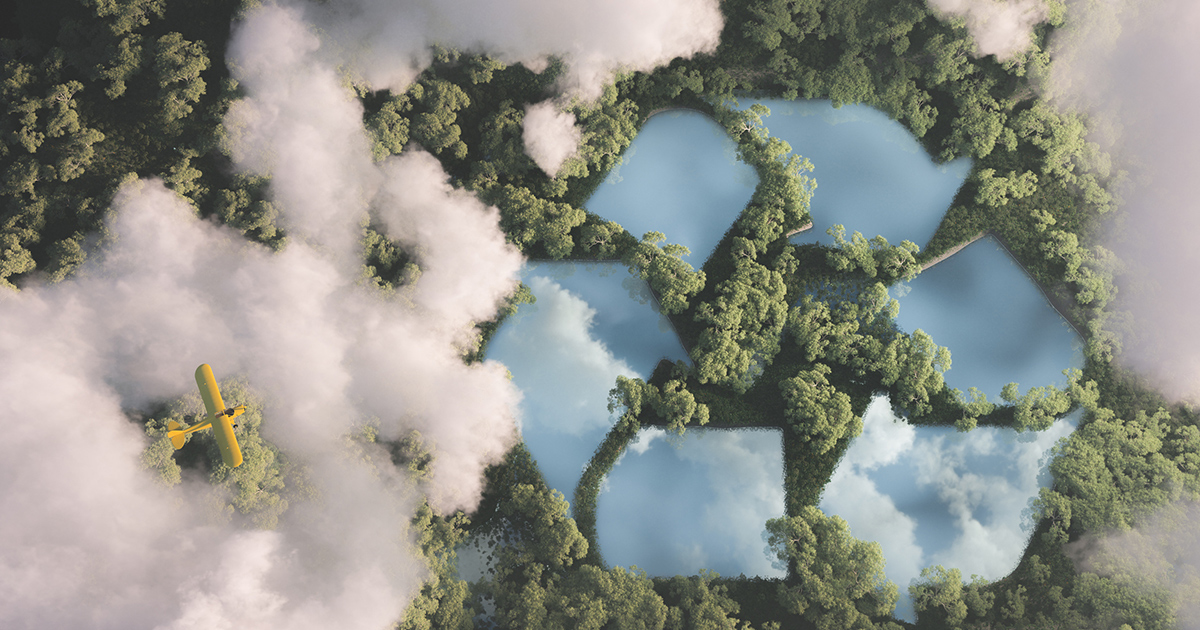Flying plane and recycle logo in trees