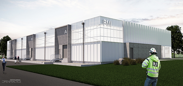 Rendering of the Bioscience Manufacturing Incubator facility