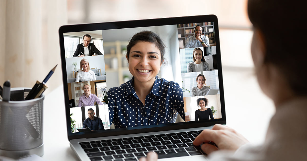 Woman on a professional video conference call