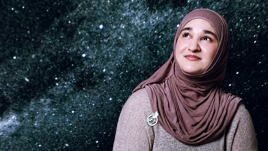 Zainab Azim looking up into the night sky