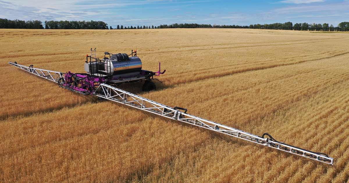 Large crop machine on an Albertan farm