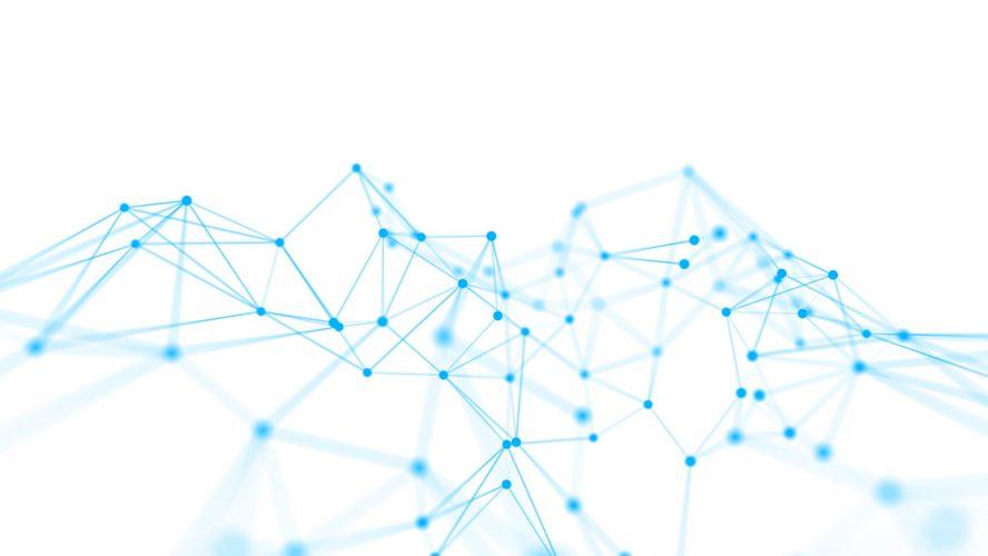 Blue data nodes on a white background