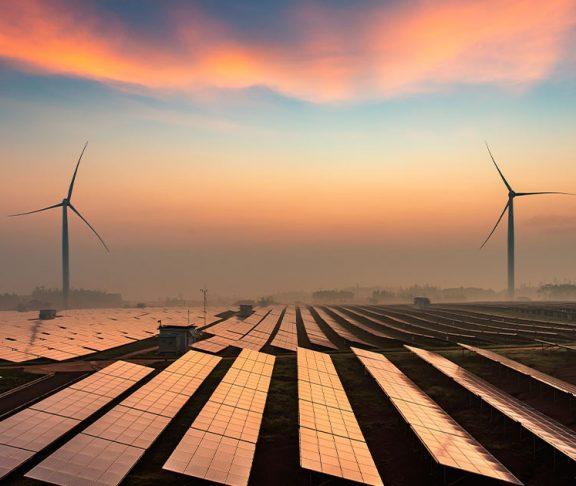 Clean energy farm at sunset