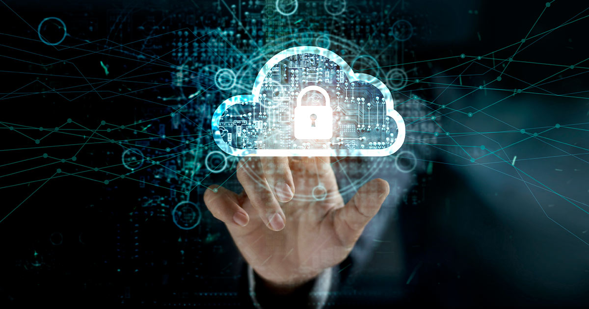 Digital render of a lock inside a cloud with a network behind it