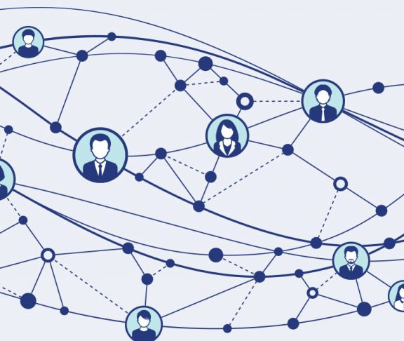 Drawing of a network and icons of people
