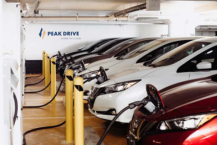Peak Drive photo of cars charging in a garage