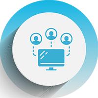 Icon depicting collaborative, remote work