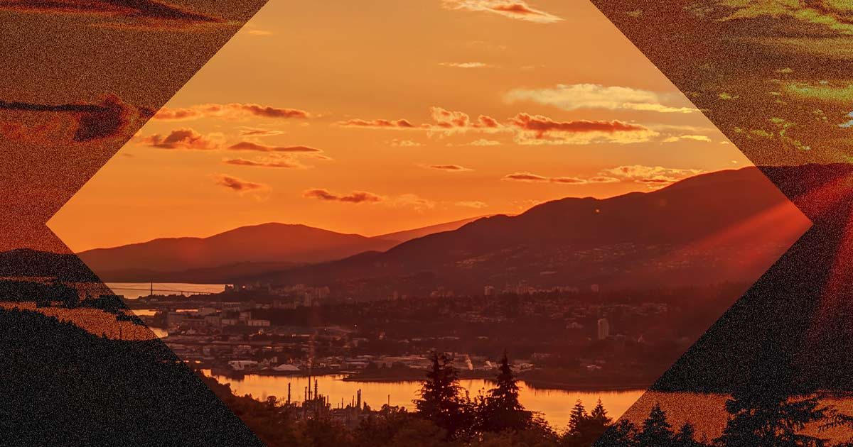 Sunset view from peak of Burnaby Mountain, BC