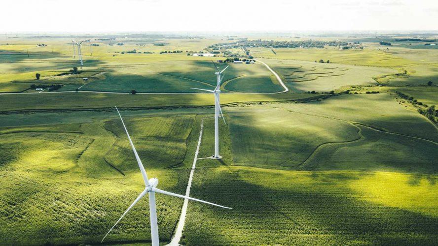 Wind turbines above a farm
