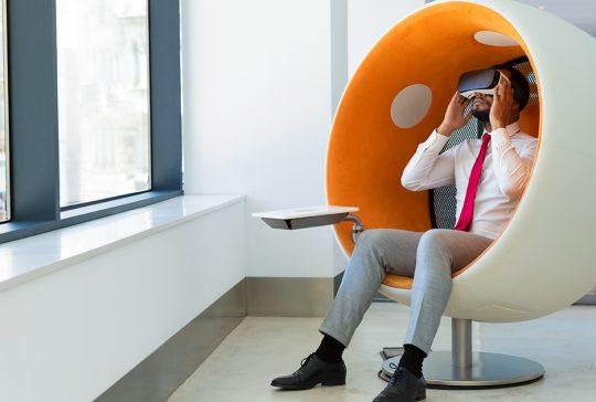 A man using a VR box