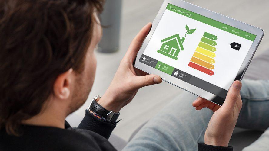 Energy efficiency mobile app on screen