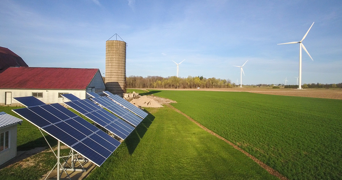 Farm with solar panel and windmills