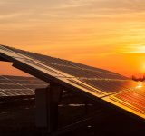 Sunrise and solar panels