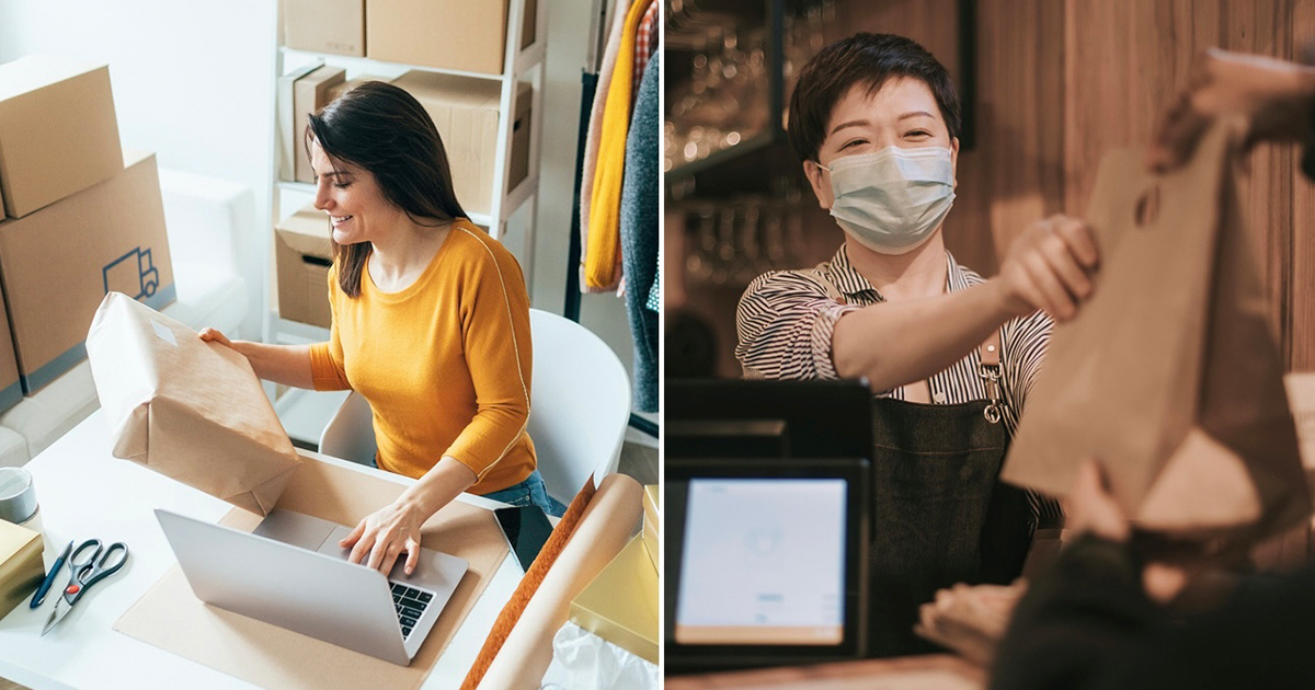 Two women working in two different businesses using digital platforms