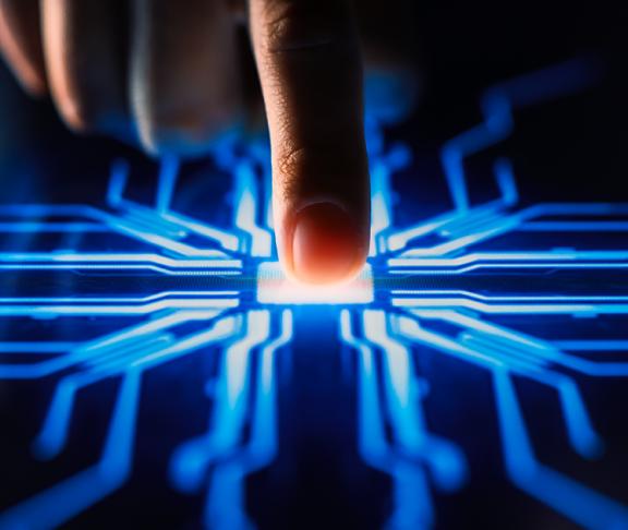 Digitalization concept human finger pushes