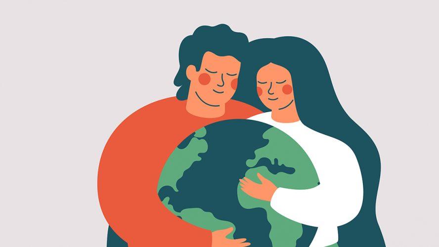 humans hugging earth social purpose