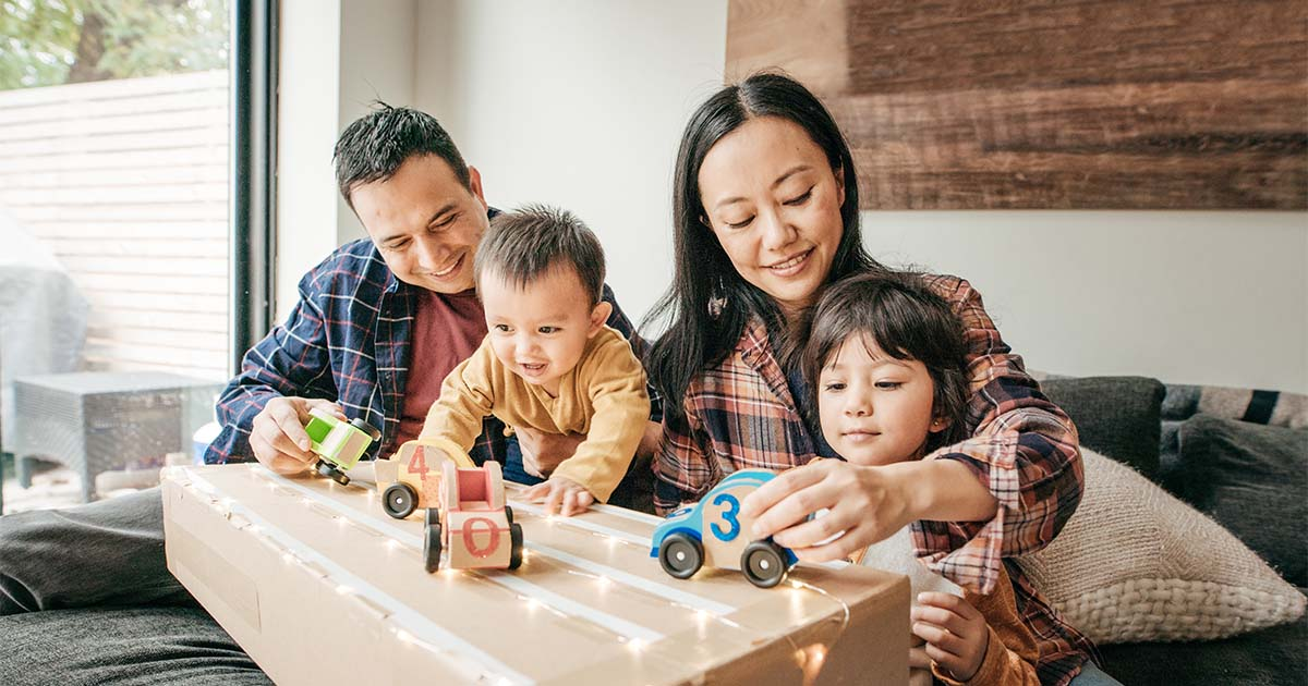 asian family playing toys