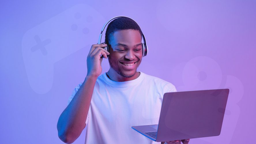 black man laptop ent gaming