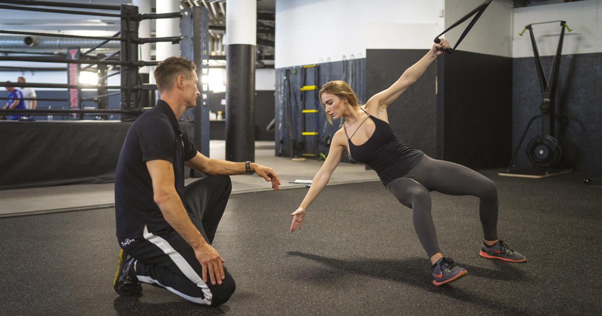 Stellan Back and Cornelia John exercising at the Haga Heath Club.