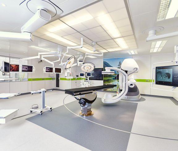 Hybrid operationssal med modulärt väggsystem Variop. Foto: Getinge