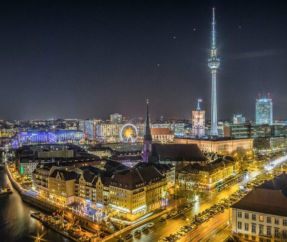 Berlin skyline by night