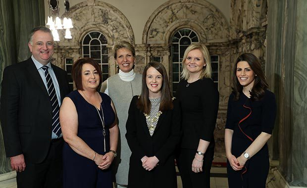 Lean In founder, Nuala Murphy, with Lord Mayor of Belfast Nuala McAllister, Emma Roberts the Lean In Europe Programme Lead and Allstate representatives, at a celebration of Lean In and Allstate's partnership in City Hall, Belfast.