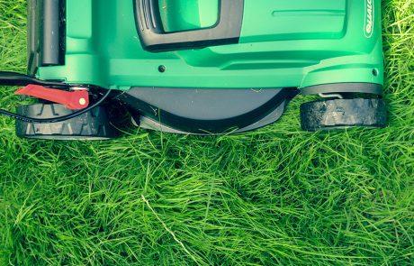 Fugleperspektiv af græsplæne og græsslåmaskine