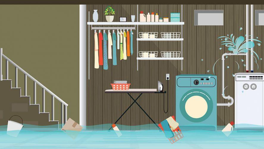 Illustration af kælder under vand