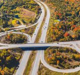 Aerial view of Ontario highway in the fall