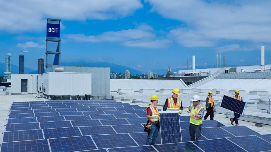 Installing solar panels for BCIT