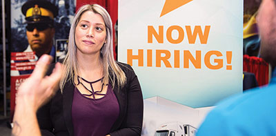 Woman at a job fair