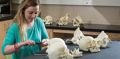 Female student working in a physical anthropology lab