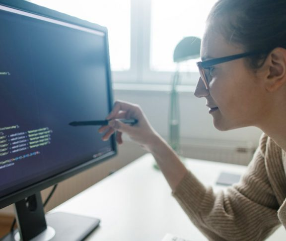 Female data scientist at work