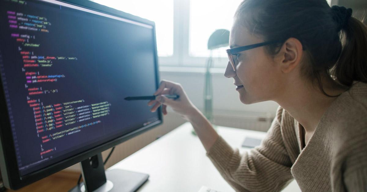 Female data scientist at work