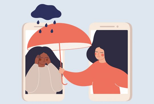 Drawing of one person giving emotional support to another through a phone
