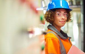 Female engineer in PPE