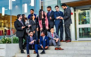 Students outside the Goodman School of Business