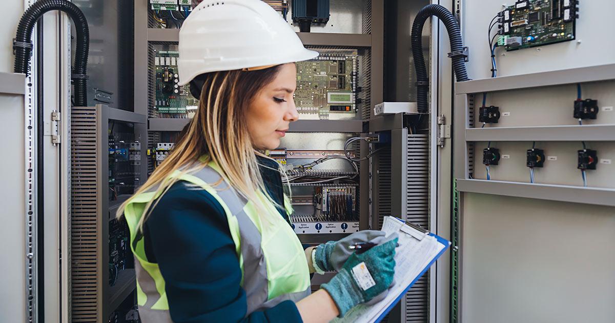 Woman nuclear technician on a job site