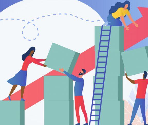 Cartoon of people building something