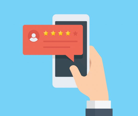 Illustration of person checking store reviews on a smartphone